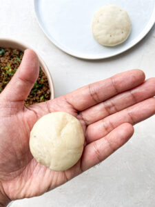 Make a round ball with the dough