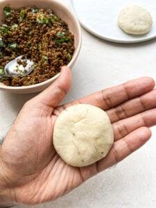gently flatten the dough pouch
