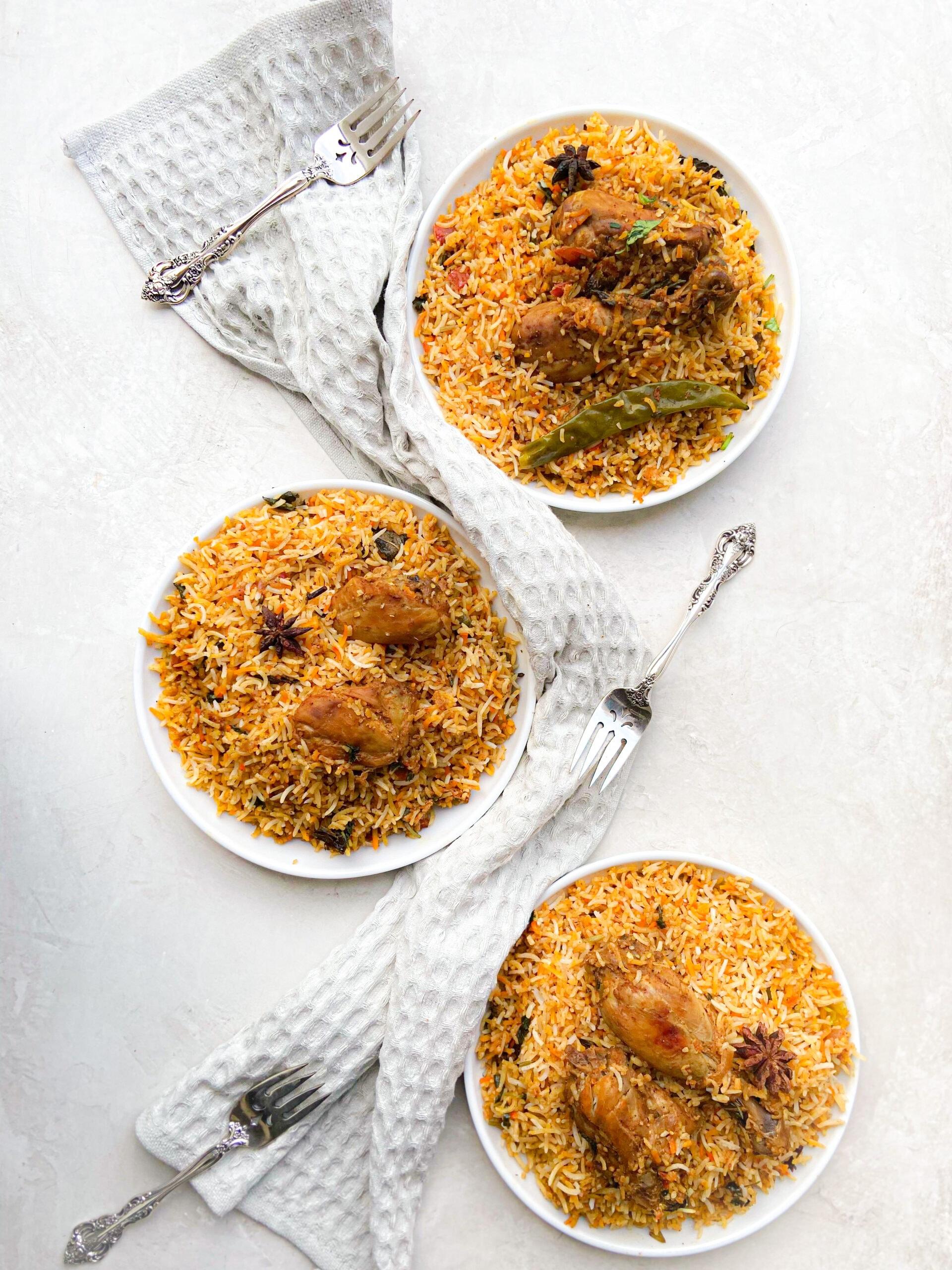 3 plates of briyani