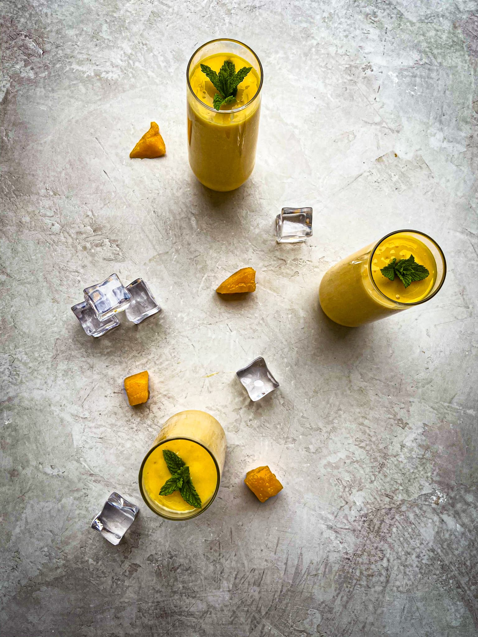 flat lay shot of mango lassi