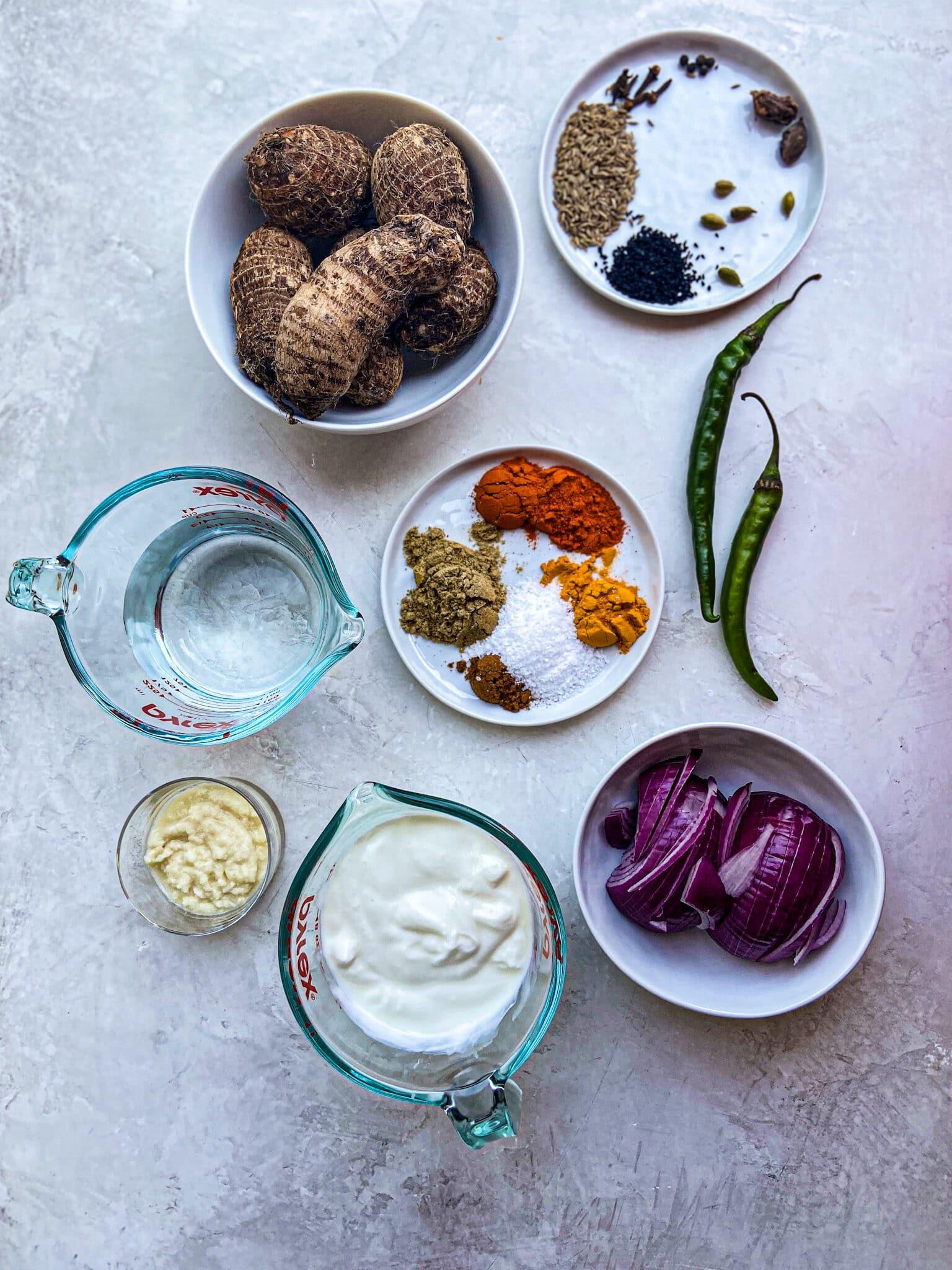 ingredients for the arvi gosht